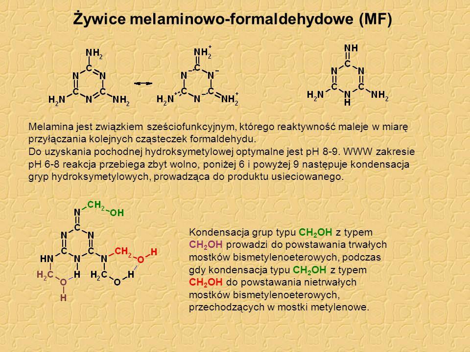 Żywice melaminowo-formaldehydowe (MF) Melamina jest związkiem sześciofunkcyjnym, którego reaktywność maleje w miarę przyłączania kolejnych cząsteczek