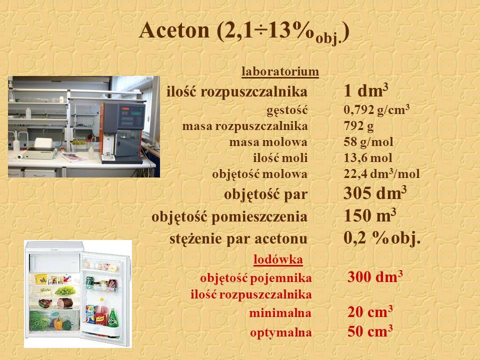 Aceton (2,1÷13% obj. ) laboratorium ilość rozpuszczalnika 1 dm 3 gęstość0,792 g/cm 3 masa rozpuszczalnika792 g masa molowa58 g/mol ilość moli13,6 mol