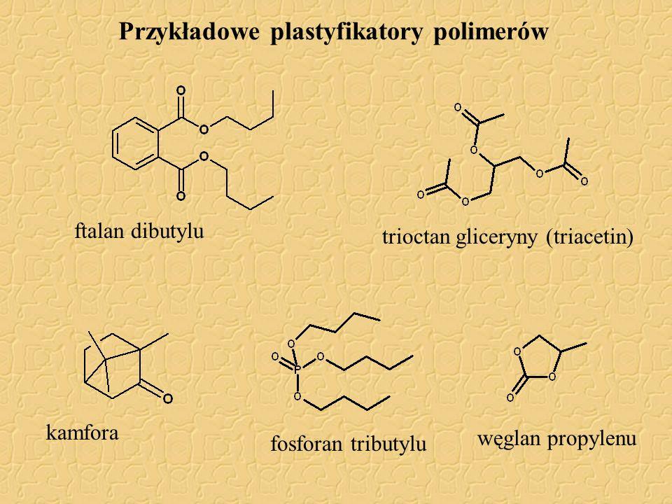 Przykładowe plastyfikatory polimerów ftalan dibutylu trioctan gliceryny (triacetin) kamforawęglan propylenu fosforan tributylu