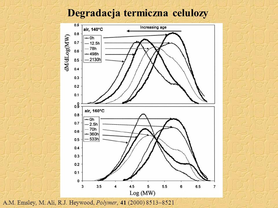 Degradacja termiczna celulozy A.M. Emsley, M. Ali, R.J. Heywood, Polymer, 41 (2000) 8513–8521