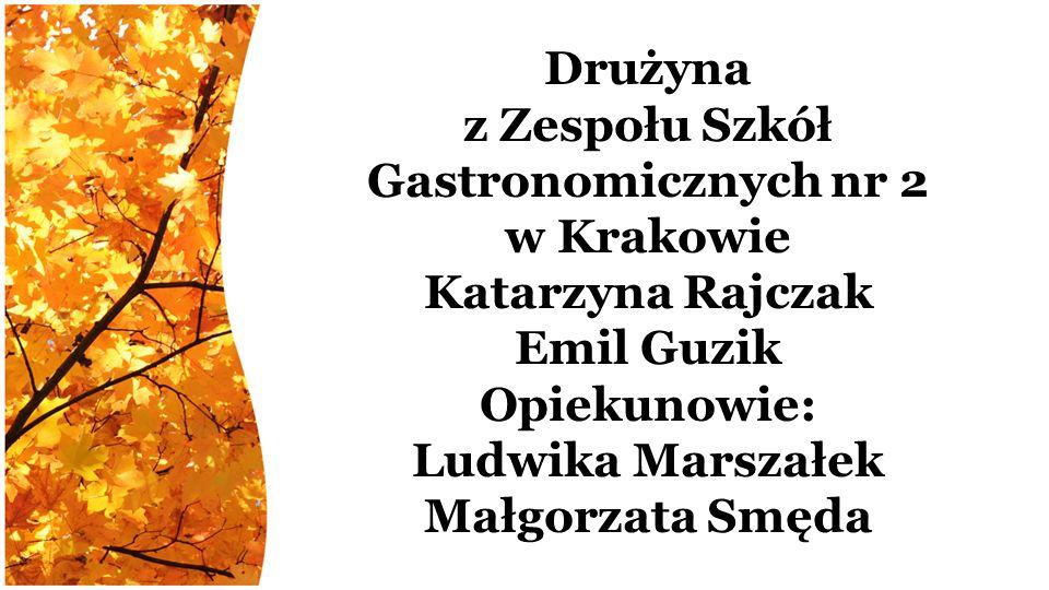 Drużyna z Zespołu Szkół Gastronomicznych nr 2 w Krakowie Katarzyna Rajczak Emil Guzik Opiekunowie: Ludwika Marszałek Małgorzata Smęda