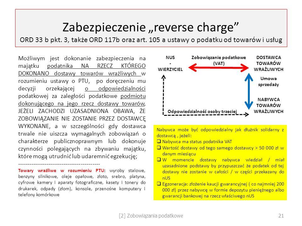 """Zabezpieczenie """"reverse charge"""" ORD 33 b pkt. 3, także ORD 117b oraz art. 105 a ustawy o podatku od towarów i usług Możliwym jest dokonanie zabezpiecz"""