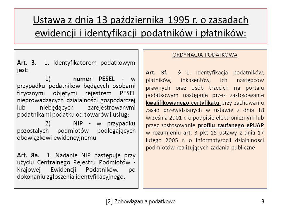 Ustawa z dnia 13 października 1995 r. o zasadach ewidencji i identyfikacji podatników i płatników: Art. 3. 1. Identyfikatorem podatkowym jest: 1)numer