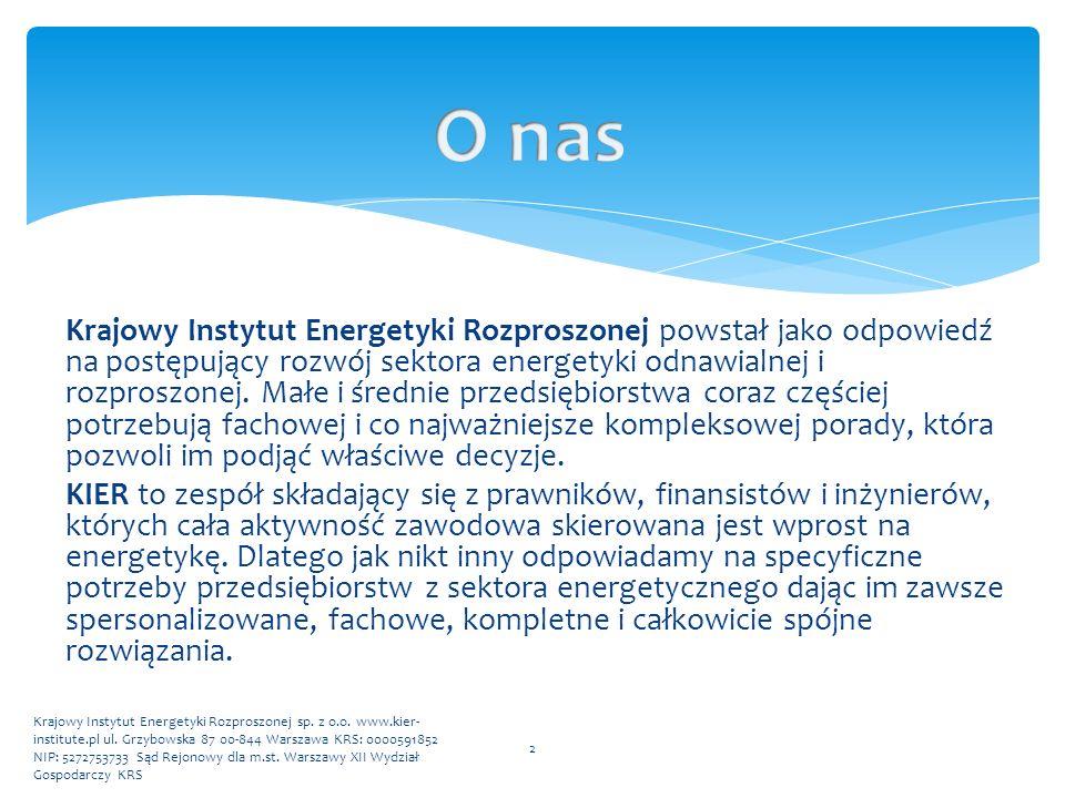  Kompleksowa pomoc w przygotowaniu projektu do wejścia na aukcję OZE;  Konsultacje w zakresie najważniejszych gałęzi prawa;  Opiniowanie aktów prawnych;  Konsultacje w zakresie umów cywilnoprawnych;  Bieżące doradztwo prawne;  Pomoc w uzyskiwaniu koncesji;  Raporty dotyczące aktualnego stanu prawnego wybranej dziedziny; 3 Krajowy Instytut Energetyki Rozproszonej sp.