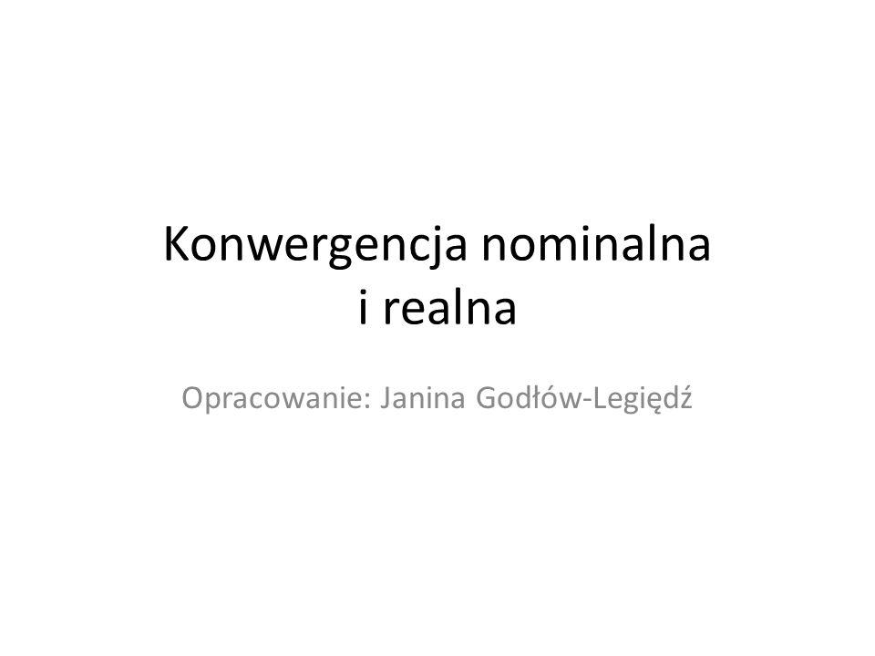 Konwergencja nominalna i realna Opracowanie: Janina Godłów-Legiędź