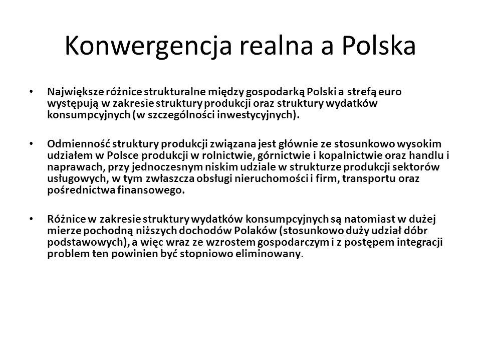 Konwergencja realna a Polska Największe różnice strukturalne między gospodarką Polski a strefą euro występują w zakresie struktury produkcji oraz stru