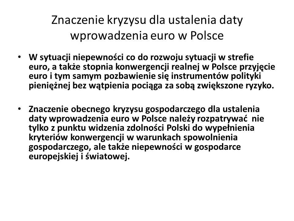 Znaczenie kryzysu dla ustalenia daty wprowadzenia euro w Polsce W sytuacji niepewności co do rozwoju sytuacji w strefie euro, a także stopnia konwerge