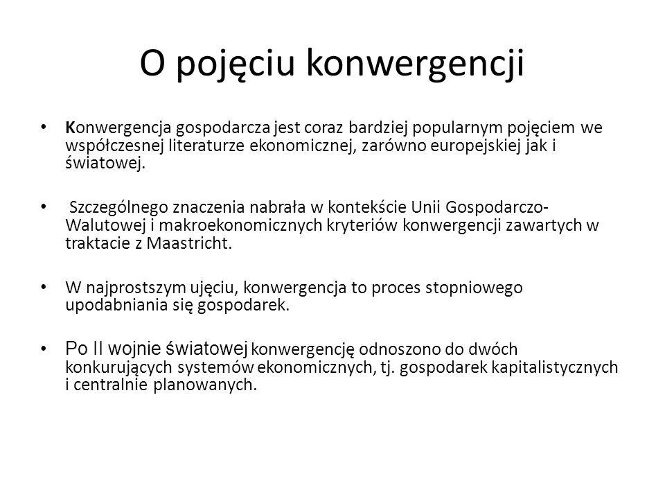 O pojęciu konwergencji Konwergencja gospodarcza jest coraz bardziej popularnym pojęciem we współczesnej literaturze ekonomicznej, zarówno europejskiej