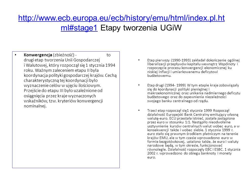http://www.ecb.europa.eu/ecb/history/emu/html/index.pl.ht ml#stage1http://www.ecb.europa.eu/ecb/history/emu/html/index.pl.ht ml#stage1 Etapy tworzenia