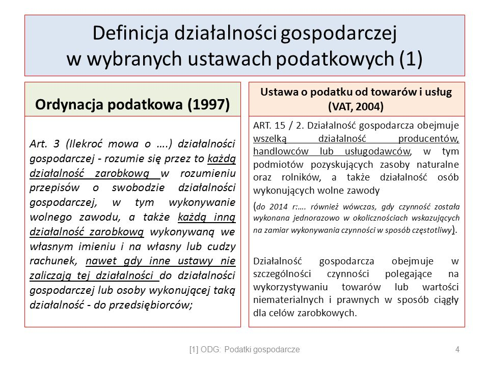 Definicja działalności gospodarczej w wybranych ustawach podatkowych (1) Ordynacja podatkowa (1997) Art.