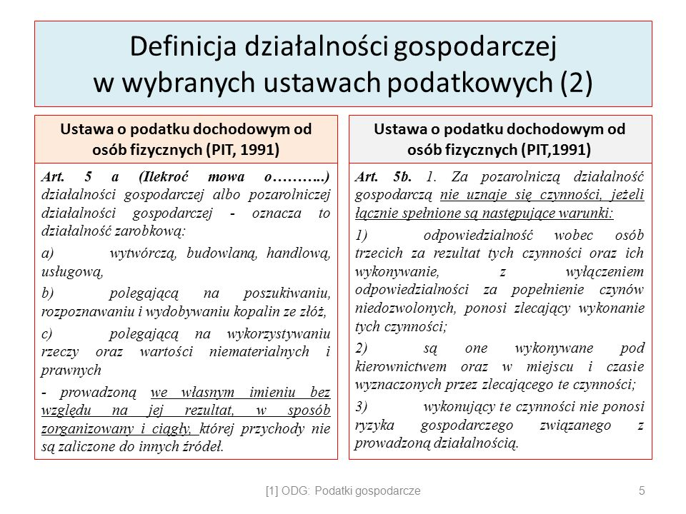 Definicja działalności gospodarczej w wybranych ustawach podatkowych (2) Ustawa o podatku dochodowym od osób fizycznych (PIT, 1991) Art.