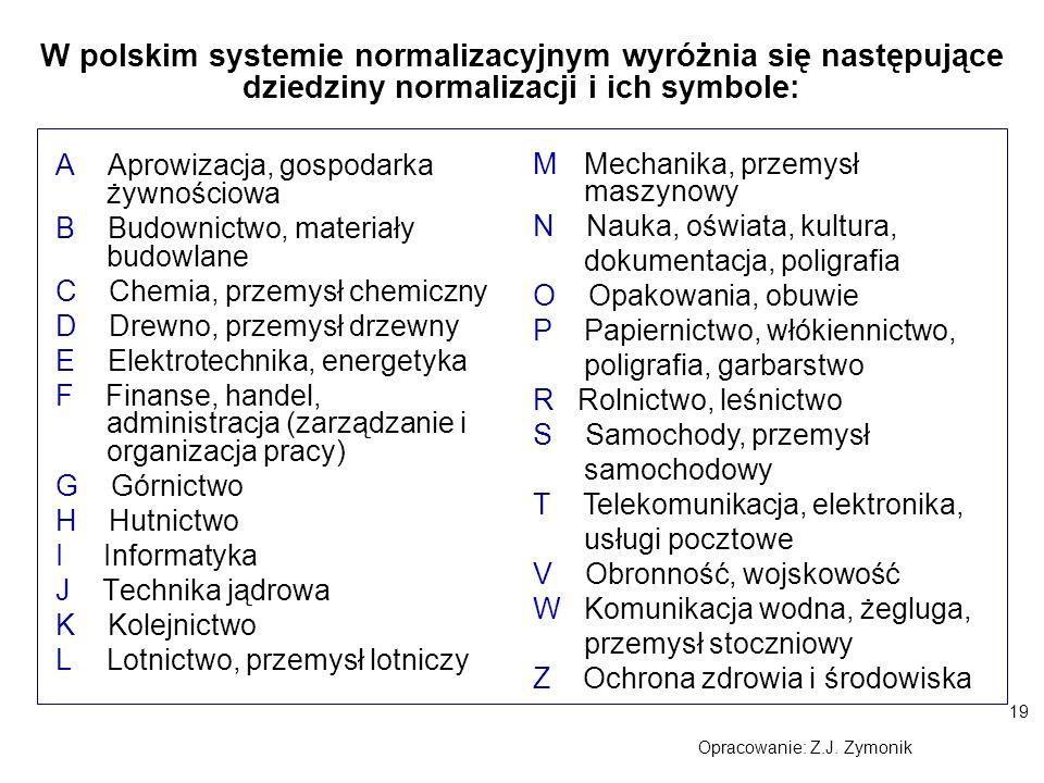 19 Opracowanie: Z.J. Zymonik A Aprowizacja, gospodarka żywnościowa B Budownictwo, materiały budowlane C Chemia, przemysł chemiczny D Drewno, przemysł