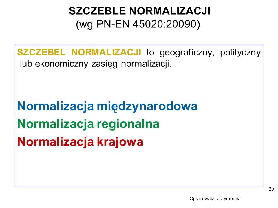 20 Opracowała: Z.Zymonik SZCZEBLE NORMALIZACJI (wg PN-EN 45020:20090) SZCZEBEL NORMALIZACJI to geograficzny, polityczny lub ekonomiczny zasięg normali