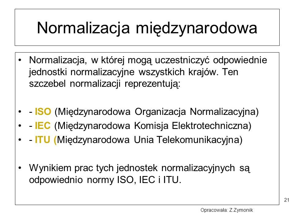 21 Normalizacja międzynarodowa Normalizacja, w której mogą uczestniczyć odpowiednie jednostki normalizacyjne wszystkich krajów. Ten szczebel normaliza