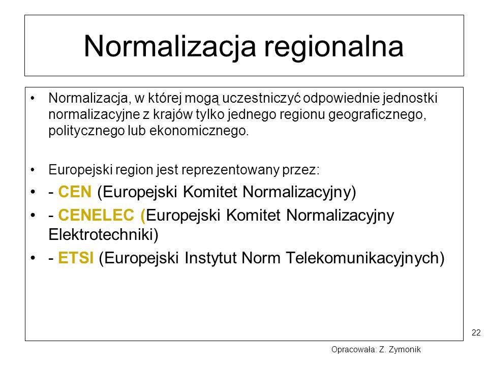 22 Normalizacja regionalna Normalizacja, w której mogą uczestniczyć odpowiednie jednostki normalizacyjne z krajów tylko jednego regionu geograficznego