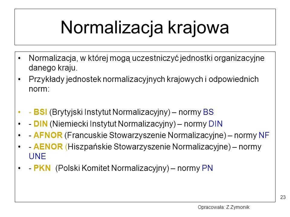 23 Normalizacja krajowa Normalizacja, w której mogą uczestniczyć jednostki organizacyjne danego kraju. Przykłady jednostek normalizacyjnych krajowych