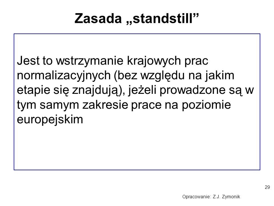 """29 Opracowanie: Z.J. Zymonik Zasada """"standstill"""" Jest to wstrzymanie krajowych prac normalizacyjnych (bez względu na jakim etapie się znajdują), jeżel"""