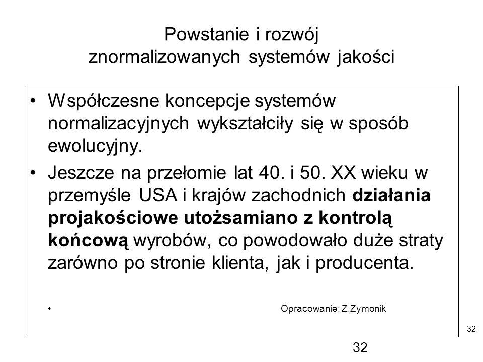 32 Powstanie i rozwój znormalizowanych systemów jakości Współczesne koncepcje systemów normalizacyjnych wykształciły się w sposób ewolucyjny. Jeszcze