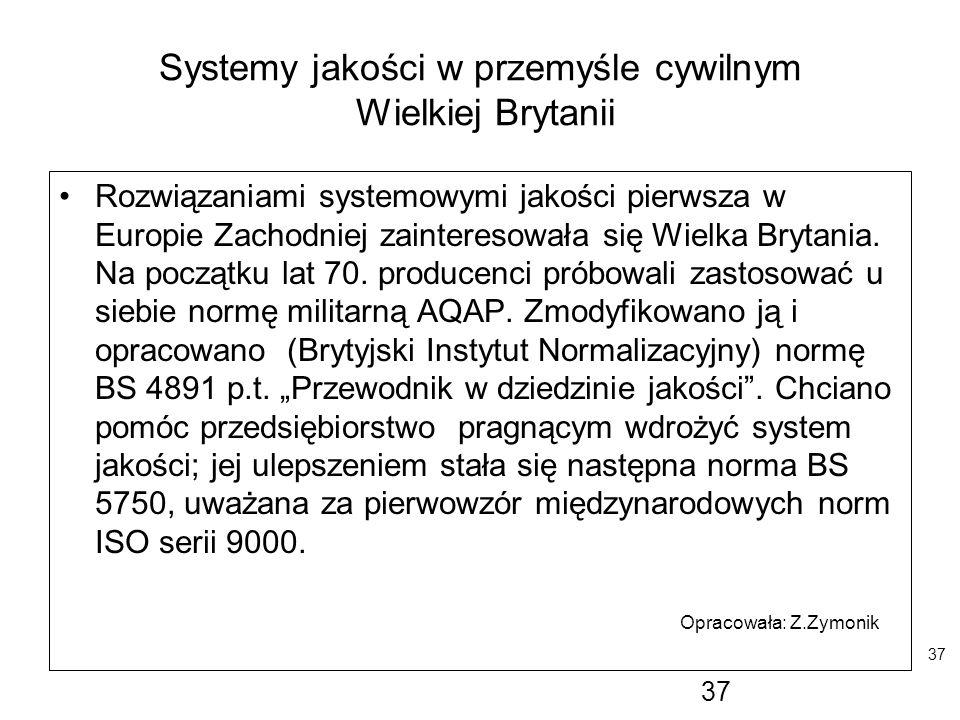 37 Systemy jakości w przemyśle cywilnym Wielkiej Brytanii Rozwiązaniami systemowymi jakości pierwsza w Europie Zachodniej zainteresowała się Wielka Br