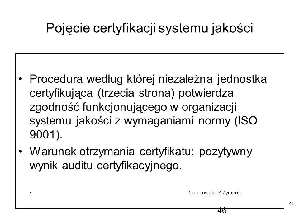 46 Pojęcie certyfikacji systemu jakości Procedura według której niezależna jednostka certyfikująca (trzecia strona) potwierdza zgodność funkcjonująceg