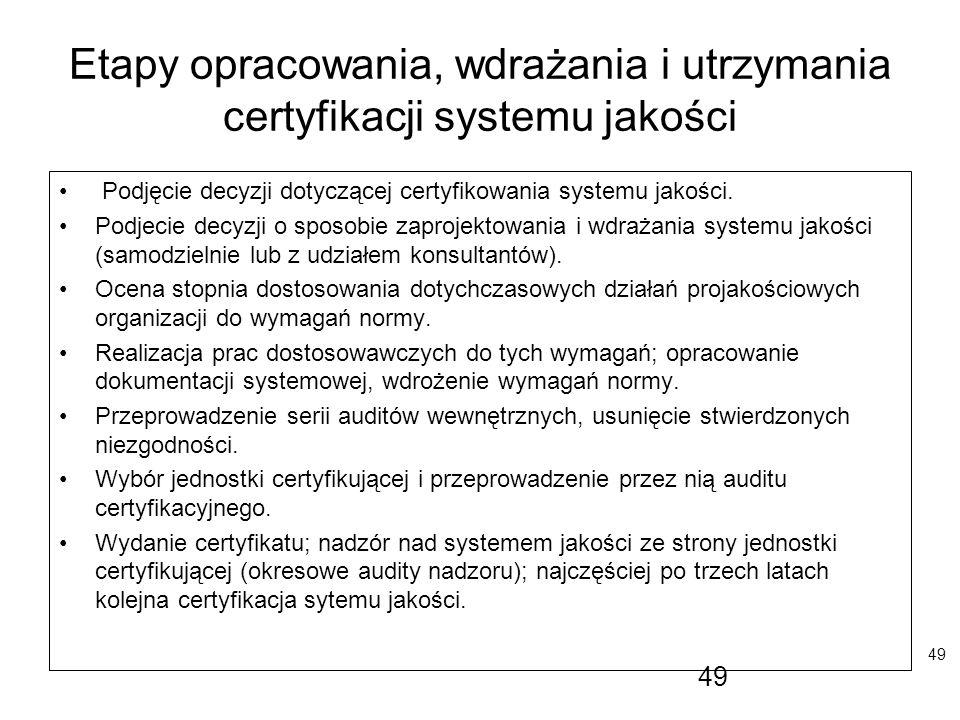 49 Etapy opracowania, wdrażania i utrzymania certyfikacji systemu jakości Podjęcie decyzji dotyczącej certyfikowania systemu jakości. Podjecie decyzji
