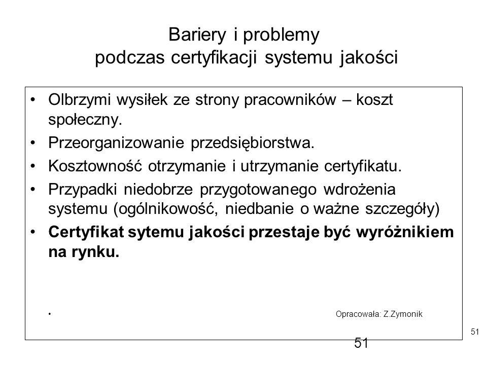 51 Bariery i problemy podczas certyfikacji systemu jakości Olbrzymi wysiłek ze strony pracowników – koszt społeczny. Przeorganizowanie przedsiębiorstw
