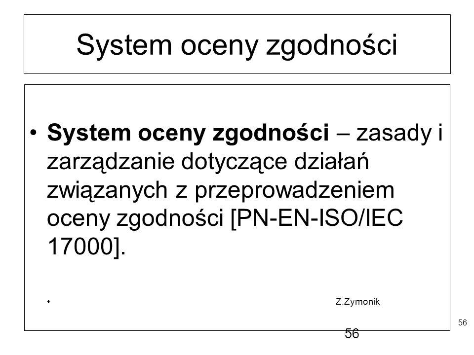 56 System oceny zgodności System oceny zgodności – zasady i zarządzanie dotyczące działań związanych z przeprowadzeniem oceny zgodności [PN-EN-ISO/IEC