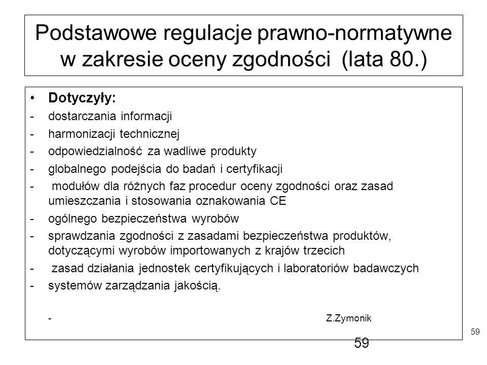 59 Podstawowe regulacje prawno-normatywne w zakresie oceny zgodności (lata 80.) Dotyczyły: -dostarczania informacji -harmonizacji technicznej -odpowie