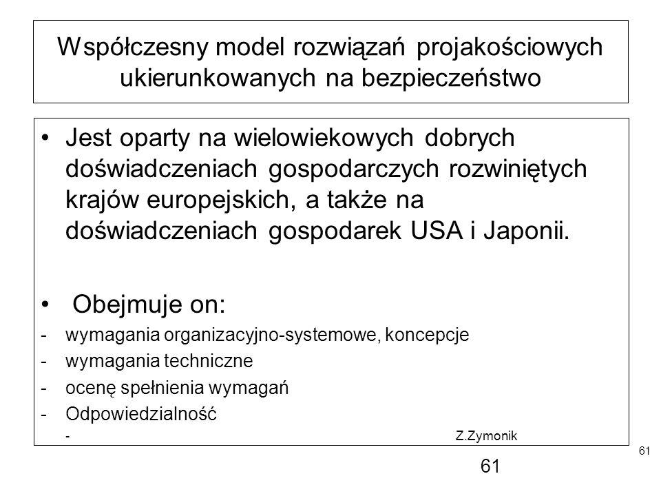 61 Współczesny model rozwiązań projakościowych ukierunkowanych na bezpieczeństwo Jest oparty na wielowiekowych dobrych doświadczeniach gospodarczych r