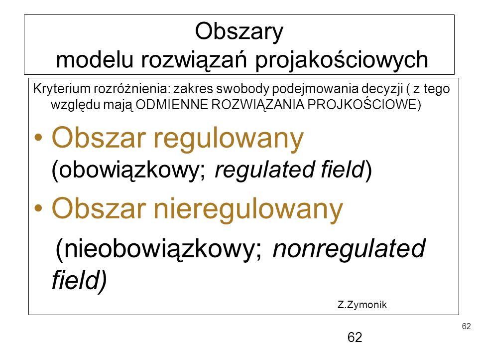 62 Obszary modelu rozwiązań projakościowych Kryterium rozróżnienia: zakres swobody podejmowania decyzji ( z tego względu mają ODMIENNE ROZWIĄZANIA PRO