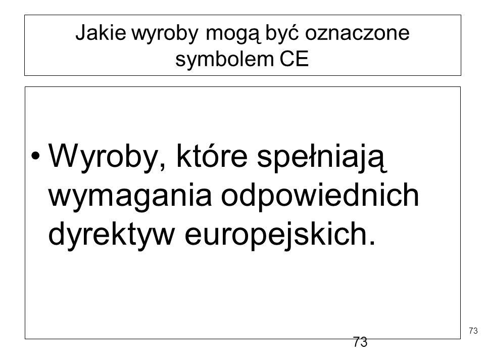 73 Jakie wyroby mogą być oznaczone symbolem CE Wyroby, które spełniają wymagania odpowiednich dyrektyw europejskich. 73