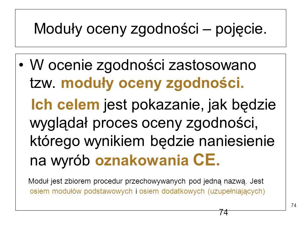 74 Moduły oceny zgodności – pojęcie. W ocenie zgodności zastosowano tzw. moduły oceny zgodności. Ich celem jest pokazanie, jak będzie wyglądał proces