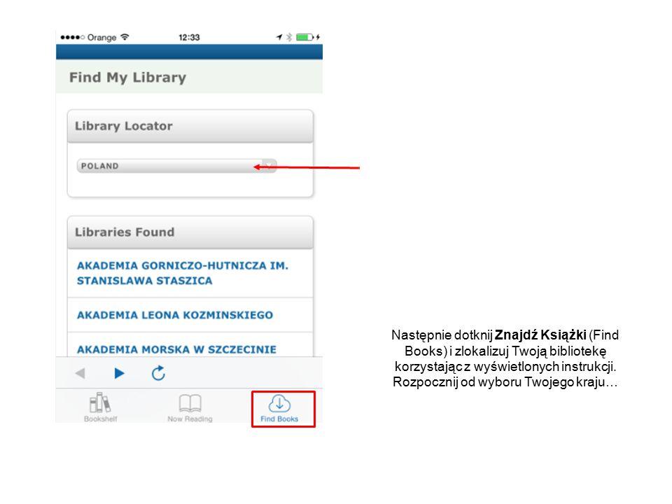 Wyświetlane są dostępne biblioteki do wyboru.Wybierz nazwę Twojej biblioteki, aby się zalogować.