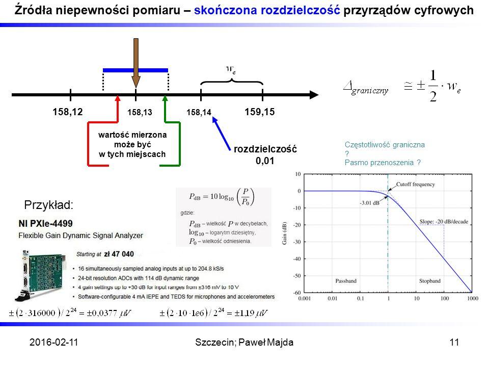 2016-02-11Szczecin; Paweł Majda11 Źródła niepewności pomiaru – skończona rozdzielczość przyrządów cyfrowych 158,12159,15 158,14 158,13 rozdzielczość 0
