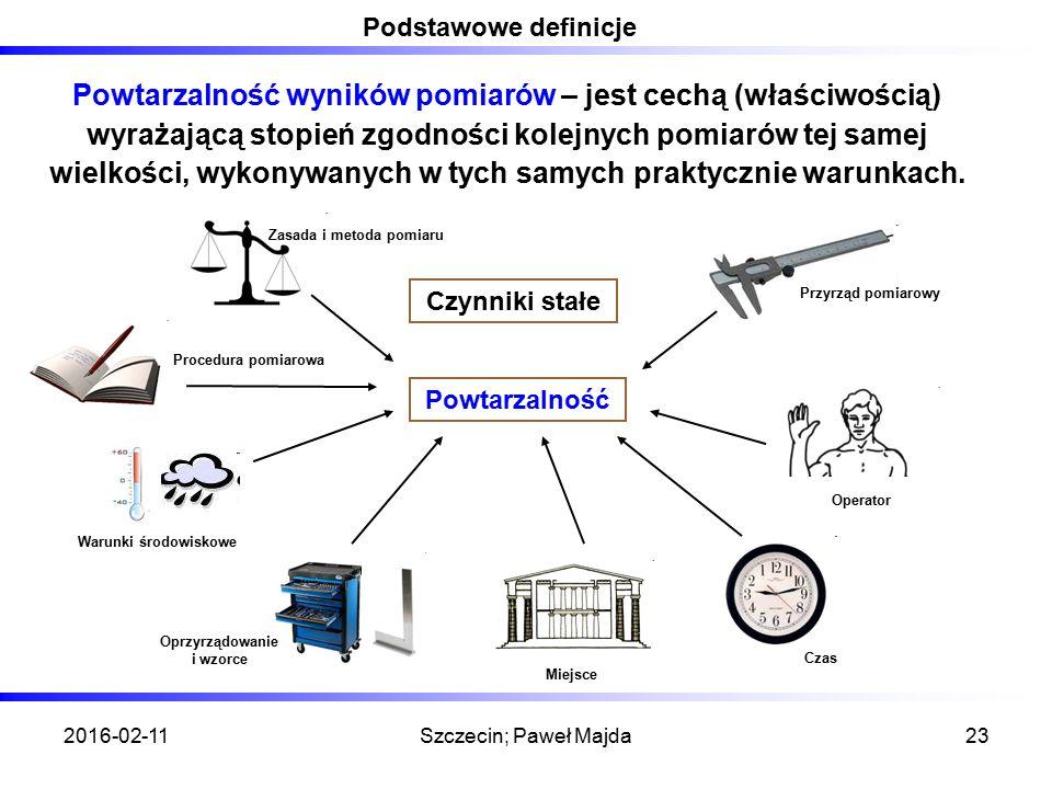 2016-02-11Szczecin; Paweł Majda23 Podstawowe definicje Powtarzalność wyników pomiarów – jest cechą (właściwością) wyrażającą stopień zgodności kolejnych pomiarów tej samej wielkości, wykonywanych w tych samych praktycznie warunkach.
