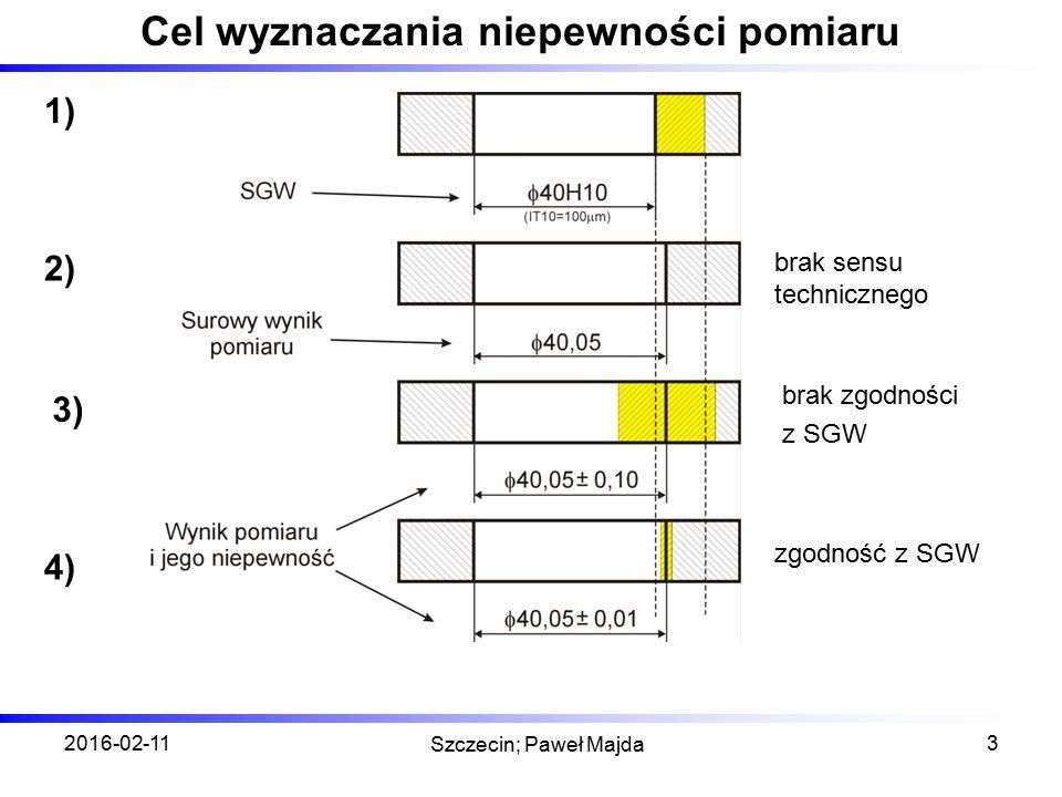 2016-02-11 Szczecin; Paweł Majda 3 Cel wyznaczania niepewności pomiaru brak sensu technicznego brak zgodności z SGW zgodność z SGW 1) 4) 3) 2)