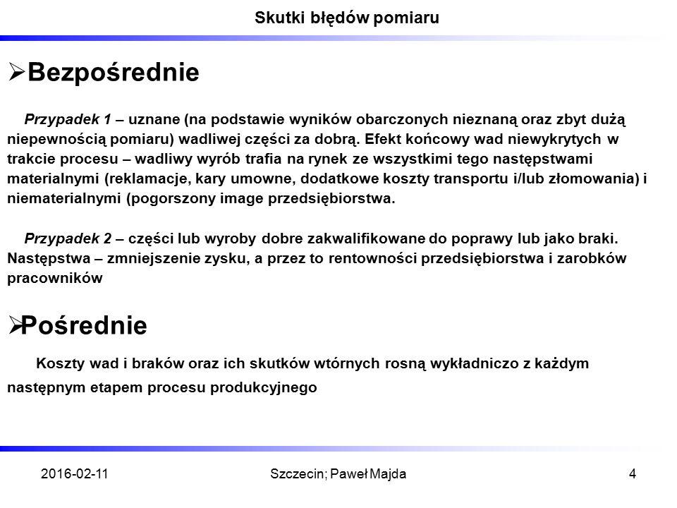 2016-02-11Szczecin; Paweł Majda4 Skutki błędów pomiaru  Bezpośrednie Przypadek 1 – uznane (na podstawie wyników obarczonych nieznaną oraz zbyt dużą niepewnością pomiaru) wadliwej części za dobrą.
