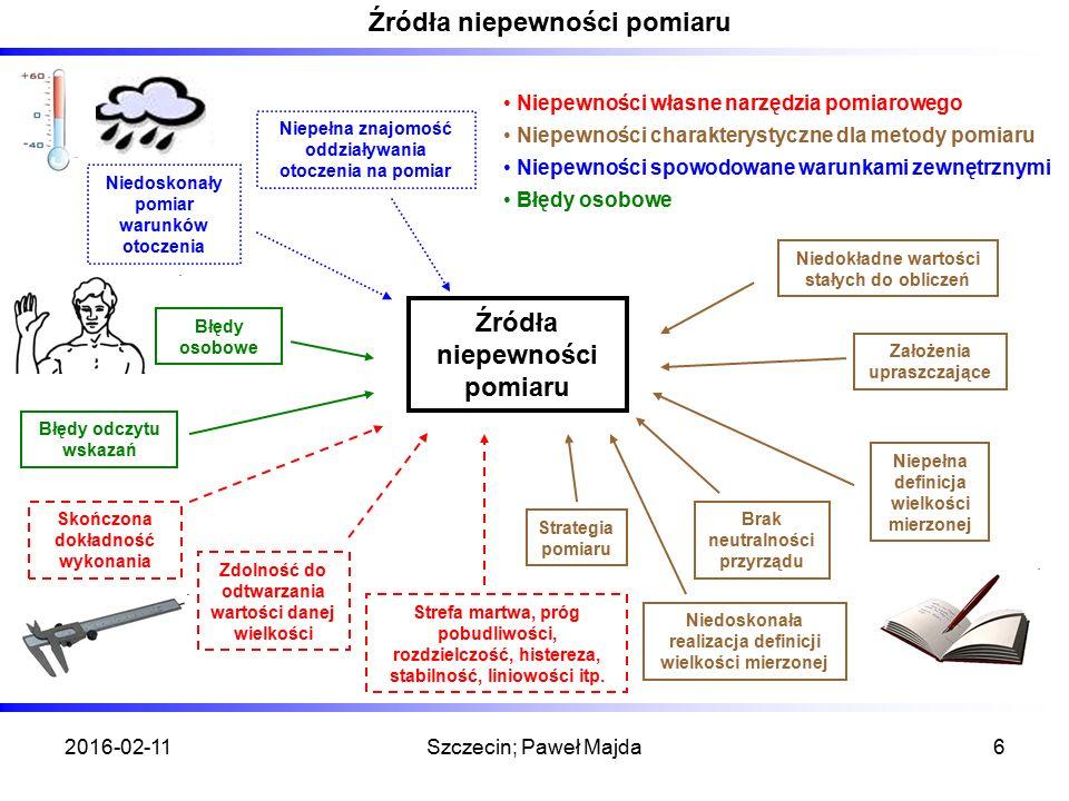 2016-02-11Szczecin; Paweł Majda6 Źródła niepewności pomiaru Niepełna znajomość oddziaływania otoczenia na pomiar Niedoskonały pomiar warunków otoczenia Błędy osobowe Błędy odczytu wskazań Zdolność do odtwarzania wartości danej wielkości Strefa martwa, próg pobudliwości, rozdzielczość, histereza, stabilność, liniowości itp.