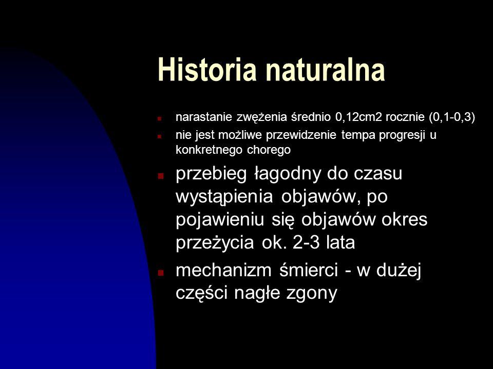 Historia naturalna n narastanie zwężenia średnio 0,12cm2 rocznie (0,1-0,3) n nie jest możliwe przewidzenie tempa progresji u konkretnego chorego n prz