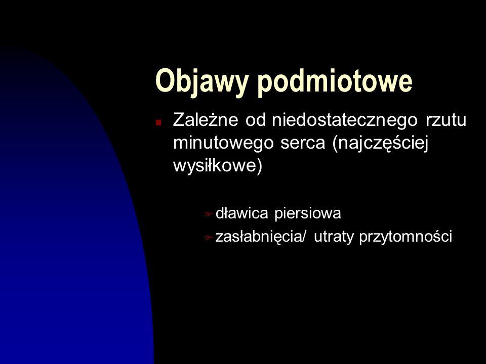 Kryteria kwalifikacji do leczenia operacyjnego n obecność dolegliwości (dławica, zasłabnięcia, duszność) u chorego z ciasną stenozą aortalną n nie operuje się chorych bezobjawowych