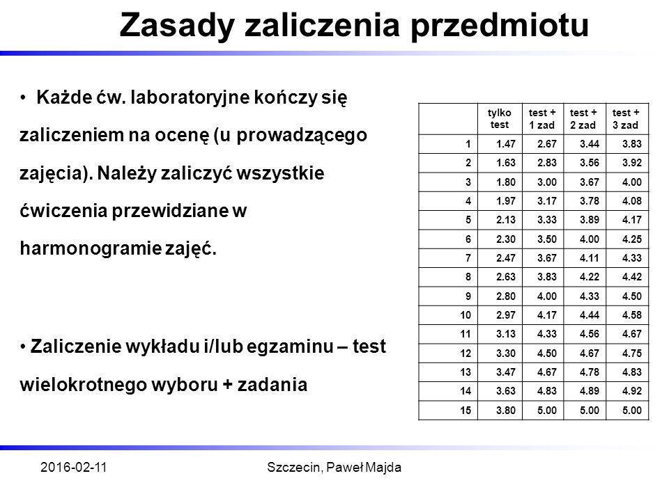 2016-02-11Szczecin, Paweł Majda Zasady zaliczenia przedmiotu Każde ćw.