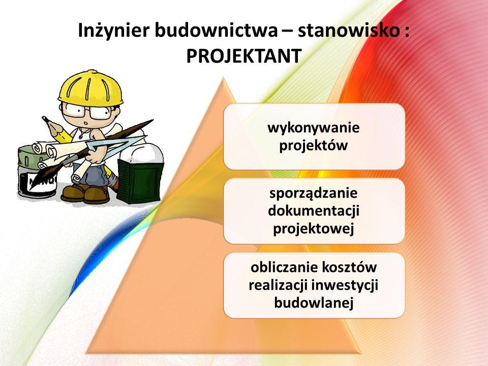 Inżynier budownictwa – stanowisko : PROJEKTANT wykonywanie projektów sporządzanie dokumentacji projektowej obliczanie kosztów realizacji inwestycji budowlanej