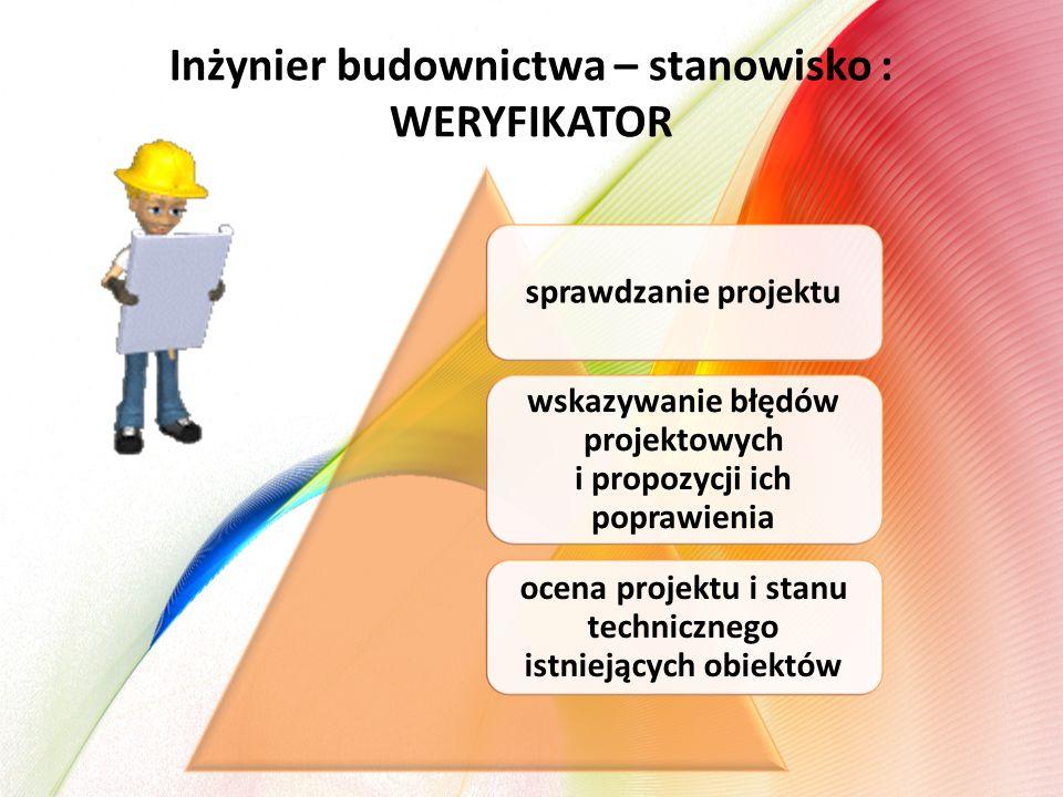 Inżynier budownictwa – stanowisko : WERYFIKATOR sprawdzanie projektu wskazywanie błędów projektowych i propozycji ich poprawienia ocena projektu i stanu technicznego istniejących obiektów
