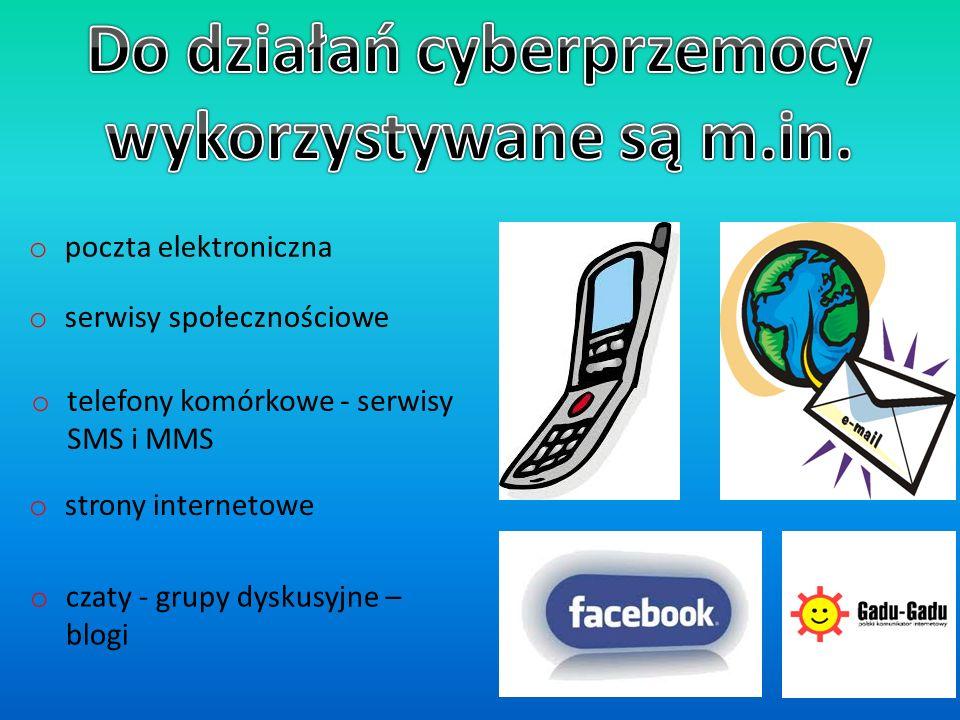 o poczta elektroniczna o strony internetowe o czaty - grupy dyskusyjne – blogi o serwisy społecznościowe o telefony komórkowe - serwisy SMS i MMS