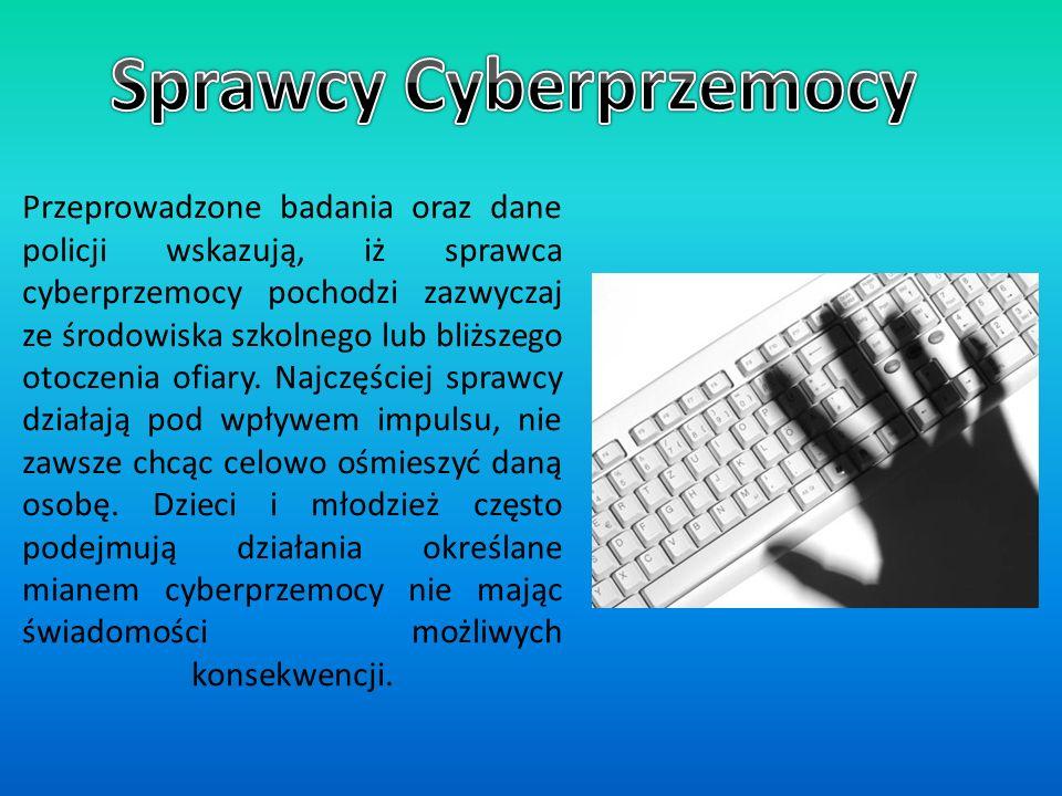 Przeprowadzone badania oraz dane policji wskazują, iż sprawca cyberprzemocy pochodzi zazwyczaj ze środowiska szkolnego lub bliższego otoczenia ofiary.