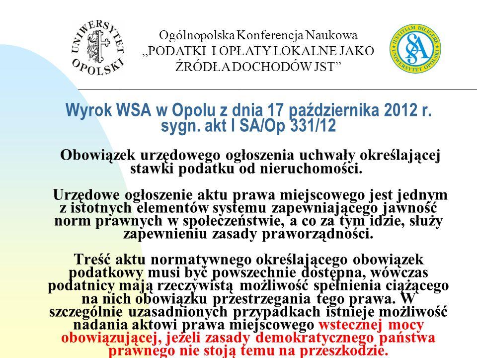 Wyrok WSA w Opolu z dnia 17 października 2012 r. sygn.