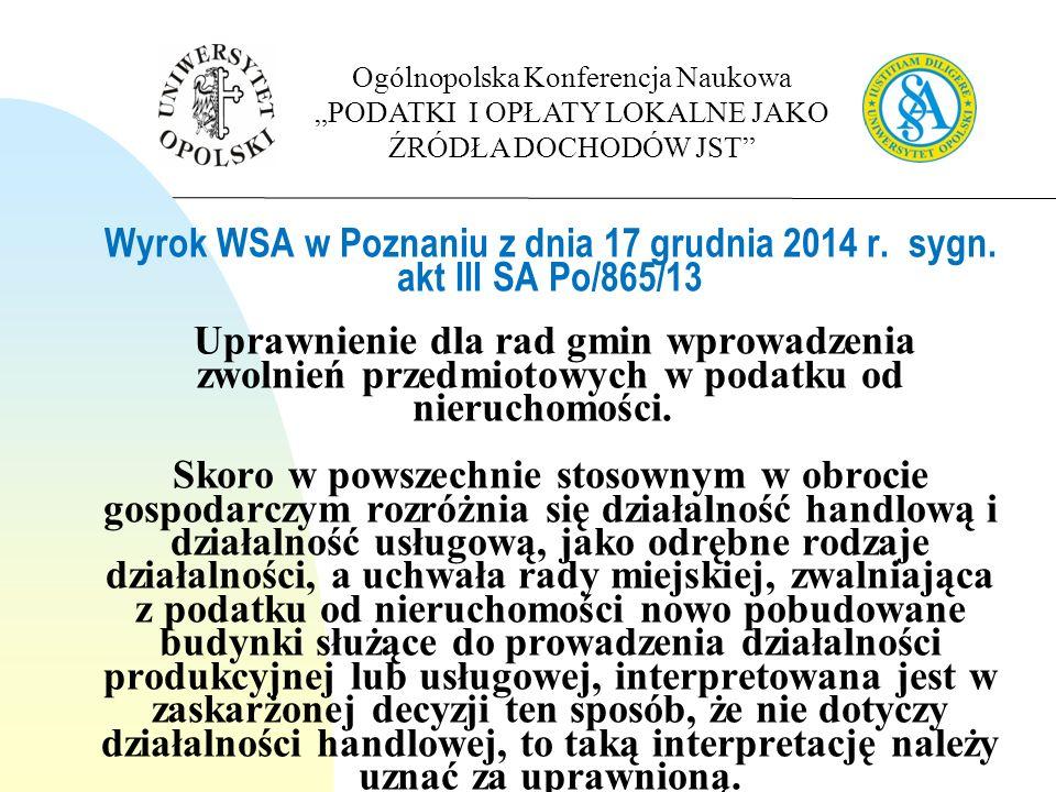 Wyrok WSA w Poznaniu z dnia 17 grudnia 2014 r. sygn.