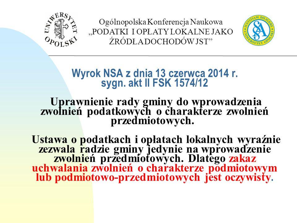 Wyrok NSA z dnia 13 czerwca 2014 r. sygn.