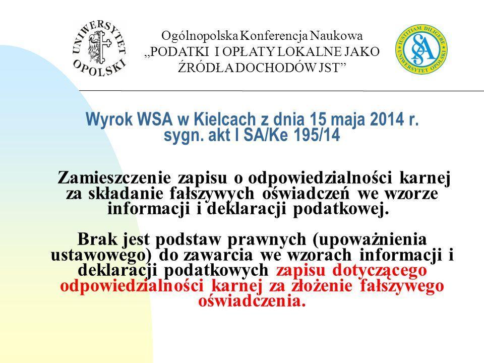 Wyrok WSA w Kielcach z dnia 15 maja 2014 r. sygn.
