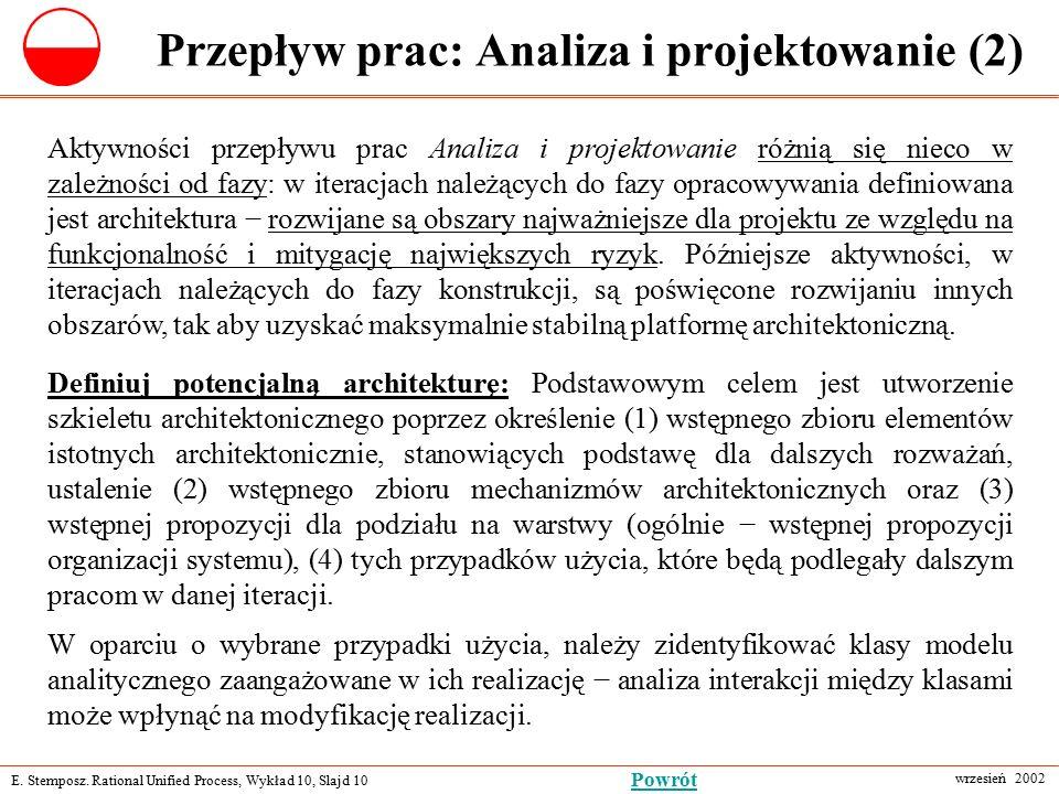 E. Stemposz. Rational Unified Process, Wykład 10, Slajd 10 wrzesień 2002 Powrót Przepływ prac: Analiza i projektowanie (2) Aktywności przepływu prac A